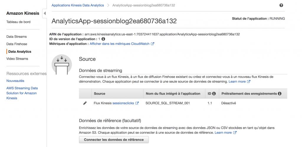 Amazon Kinesis - Détails de l'application