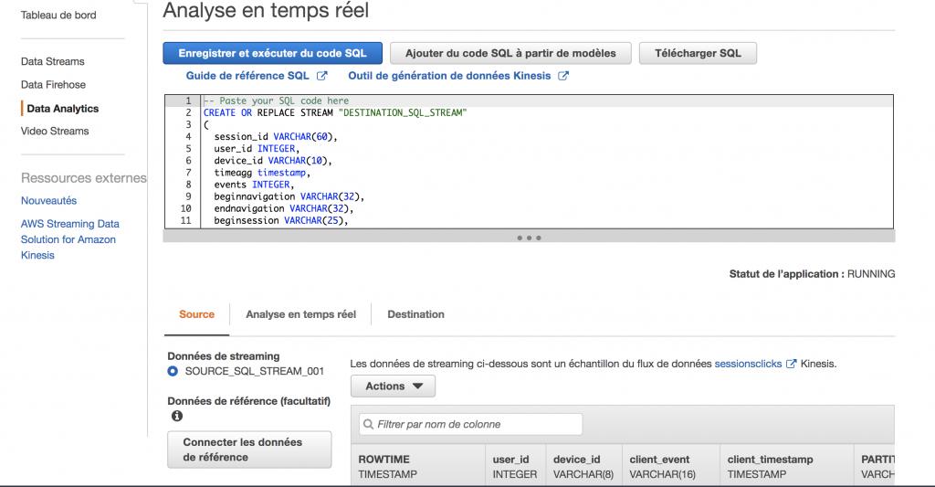 Amazon Kinesis - Test SQL
