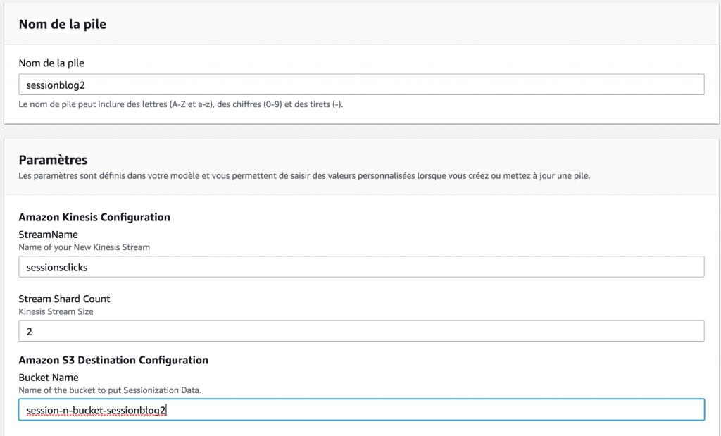 CloudFormations - Configuration screen part 1