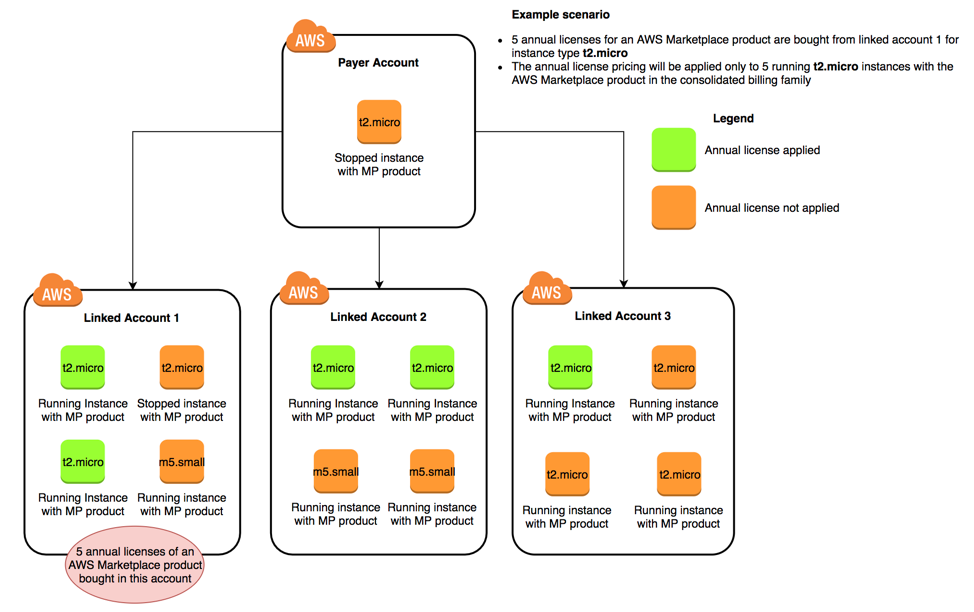 AWS Organizations annual license diagram