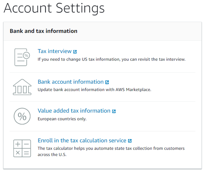 AWS Marketplace seller account settings