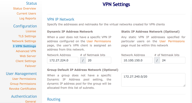 OpenVPN settings AWS Marketplace