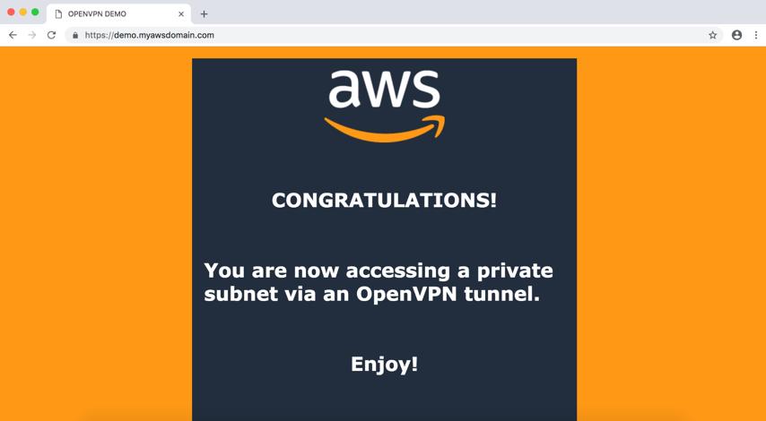 success screen OpenVPN