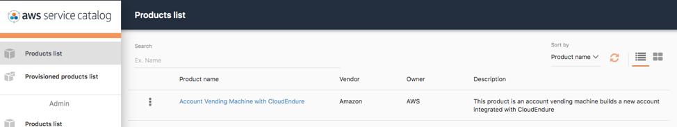 AWS Service Catalog console