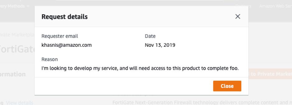 request details AWS Marketplace Private Marketplace