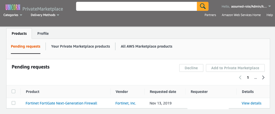 request status Private Marketplace AWS Marketplace