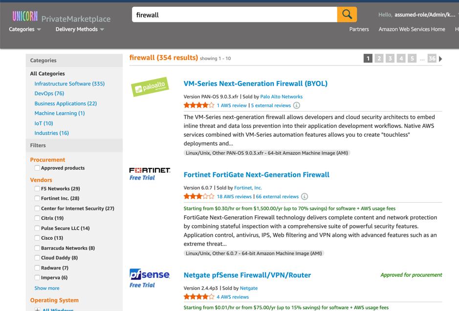 search AWS Marketplace