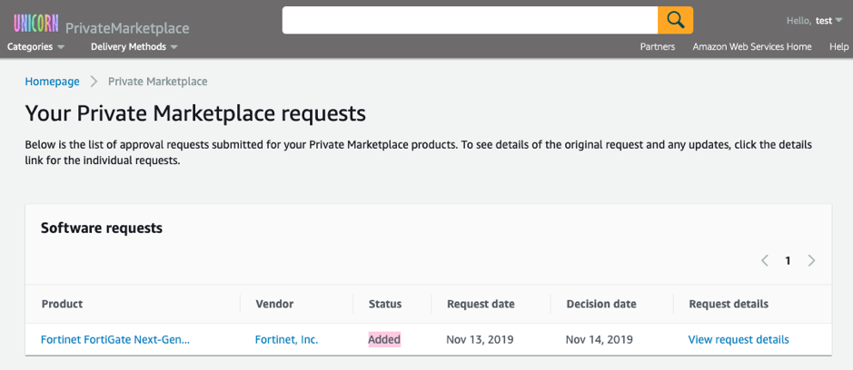 software requests AWS Marketplace Private Marketplace