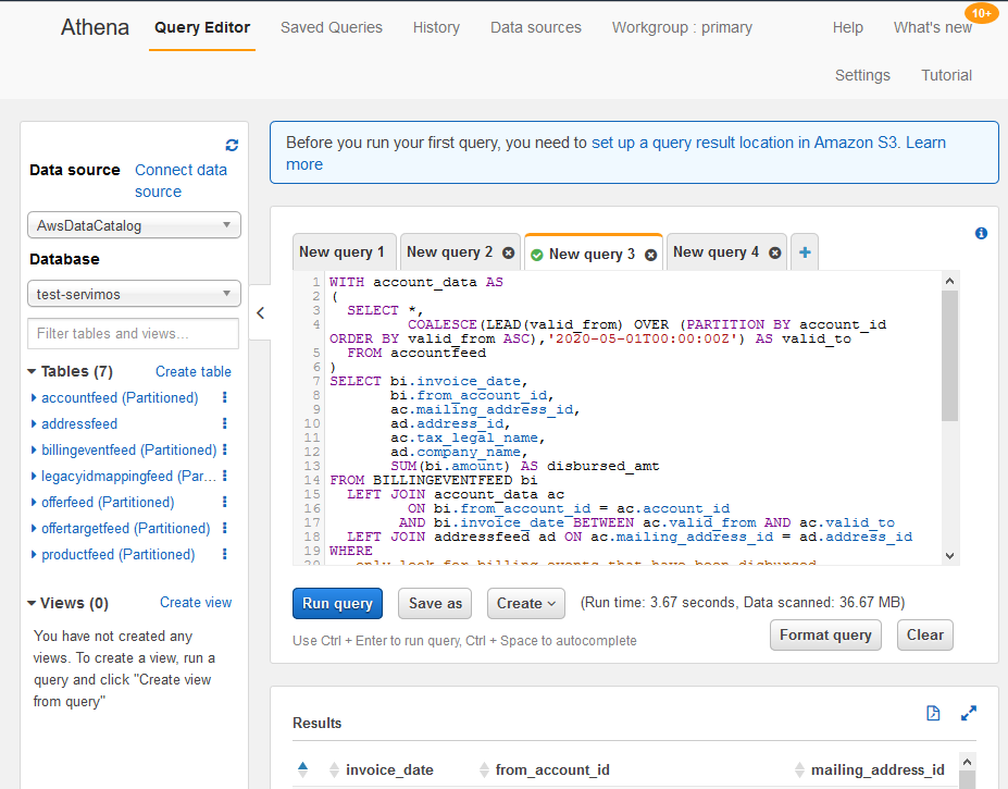 Successful results of SQL query built in Amazon Athena