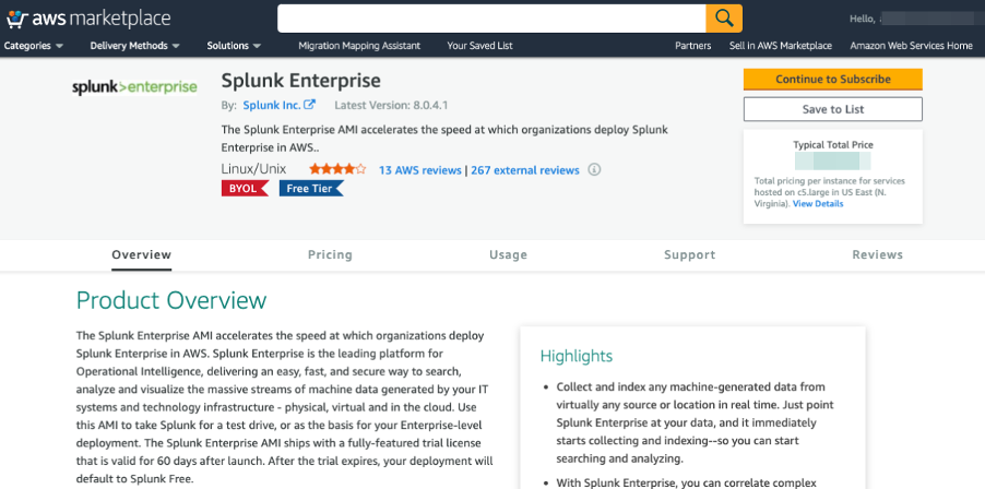 Splunk in AWS Marketplace screenshot