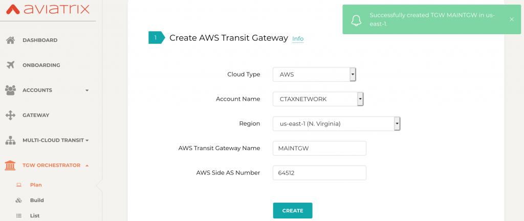 Successful AWS Transit Gateway Aviatrix