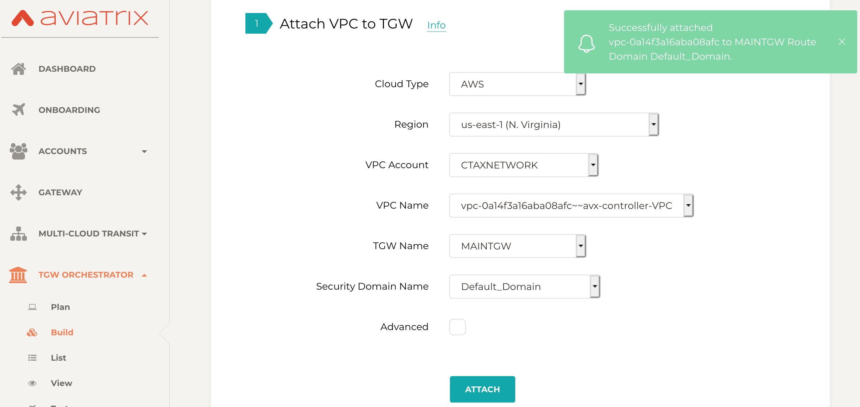 attach VPC to TGW Aviatrix