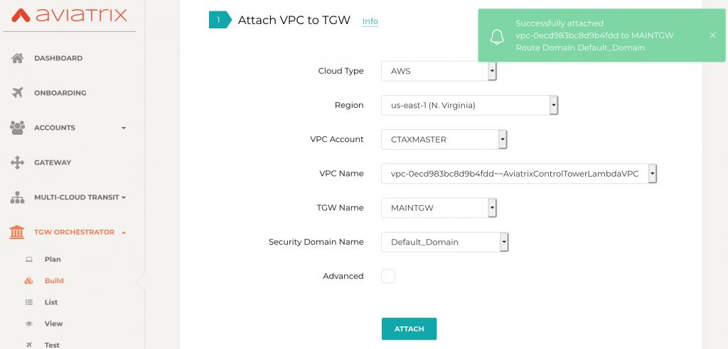 attach VPC to TGW Lambda Aviatrix