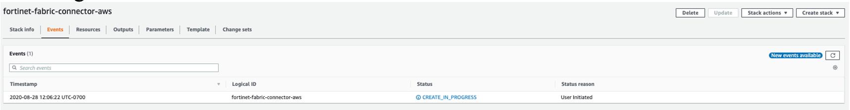 fortinet stack creation in progress screenshot