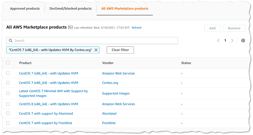 Screenshot of Private Marketplace products catalog with search bar