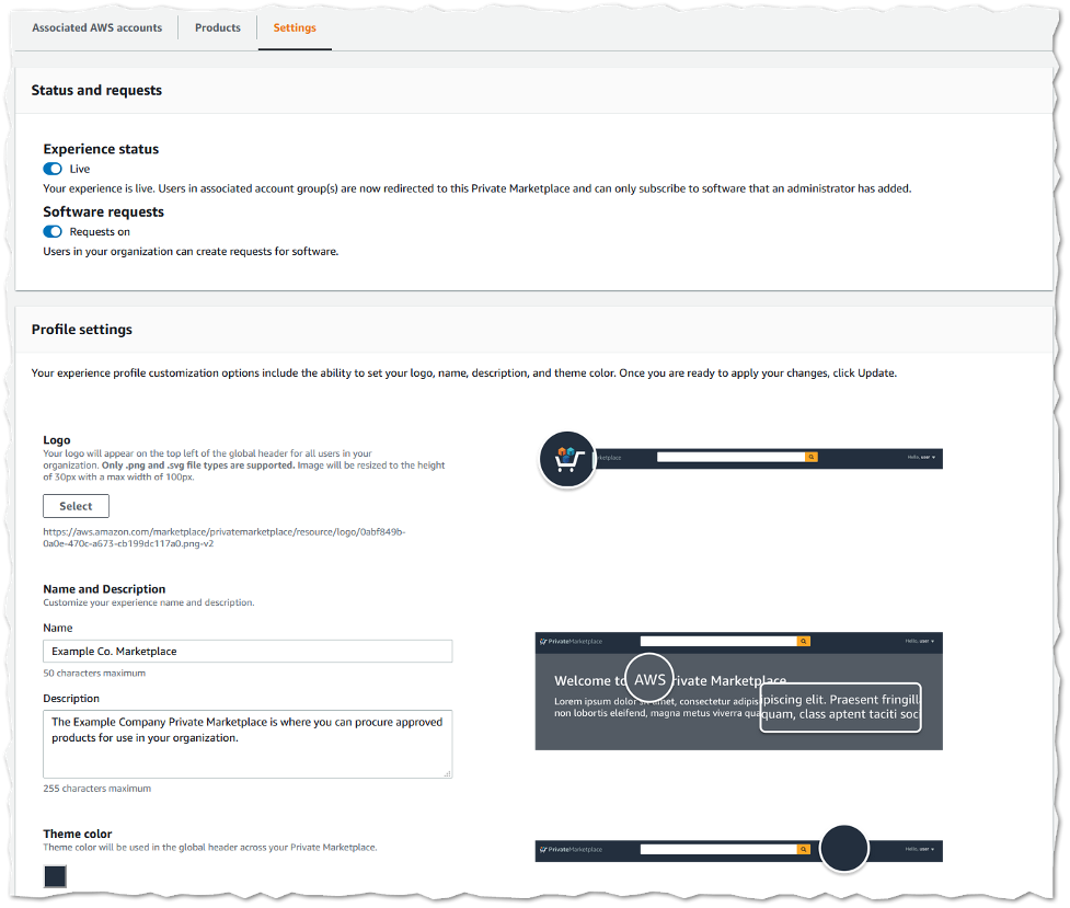 Screenshot of Private Marketplace experience settings. Includes ability to modify logo, name, an description of the Private Marketplace