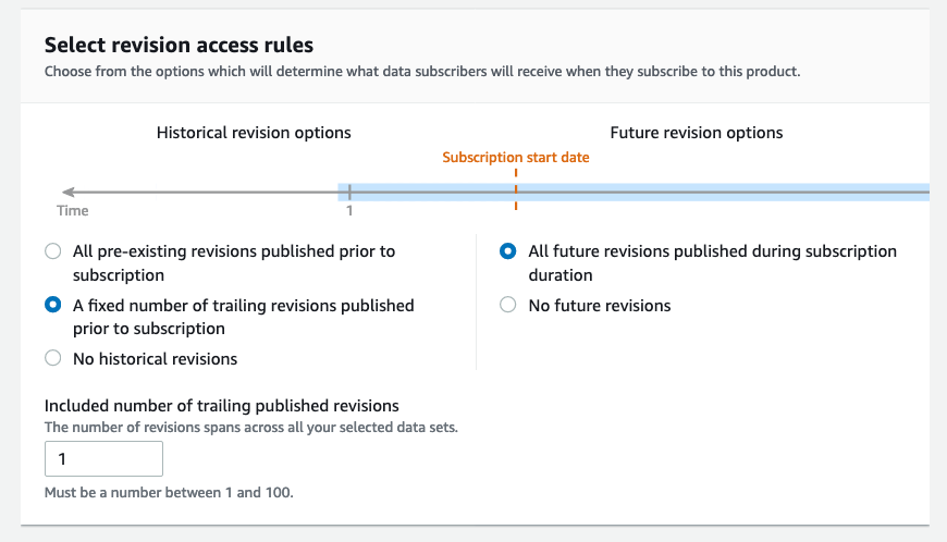 Revision access rules with all future revisions and one trailling revision