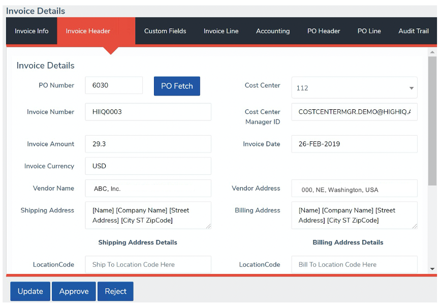 invoice extraction details Oscar HighIQ