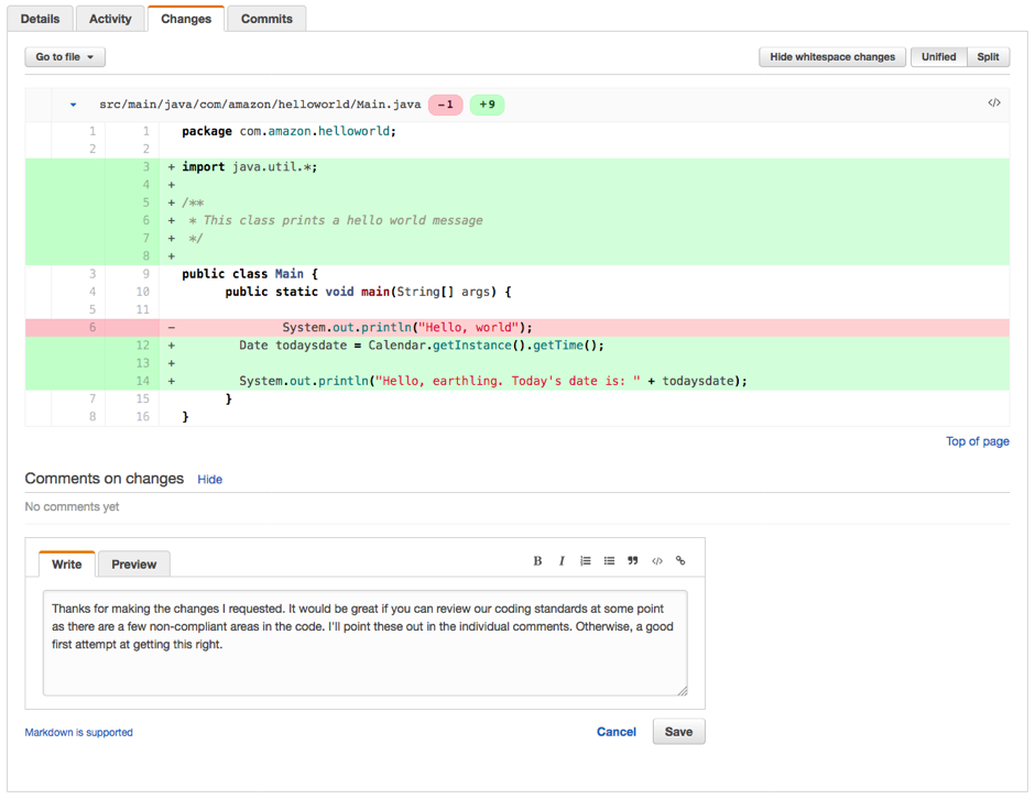 tfs git pull request code review
