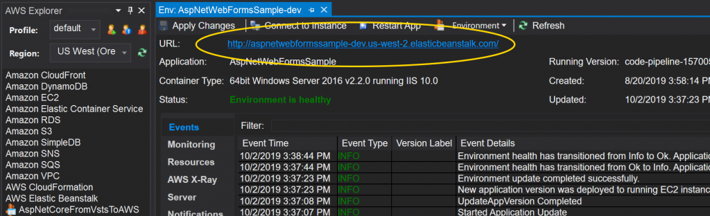 The AWS Toolkit for Visual Studio's Elastic Beanstalk deployment pane, with the environment URL circled.