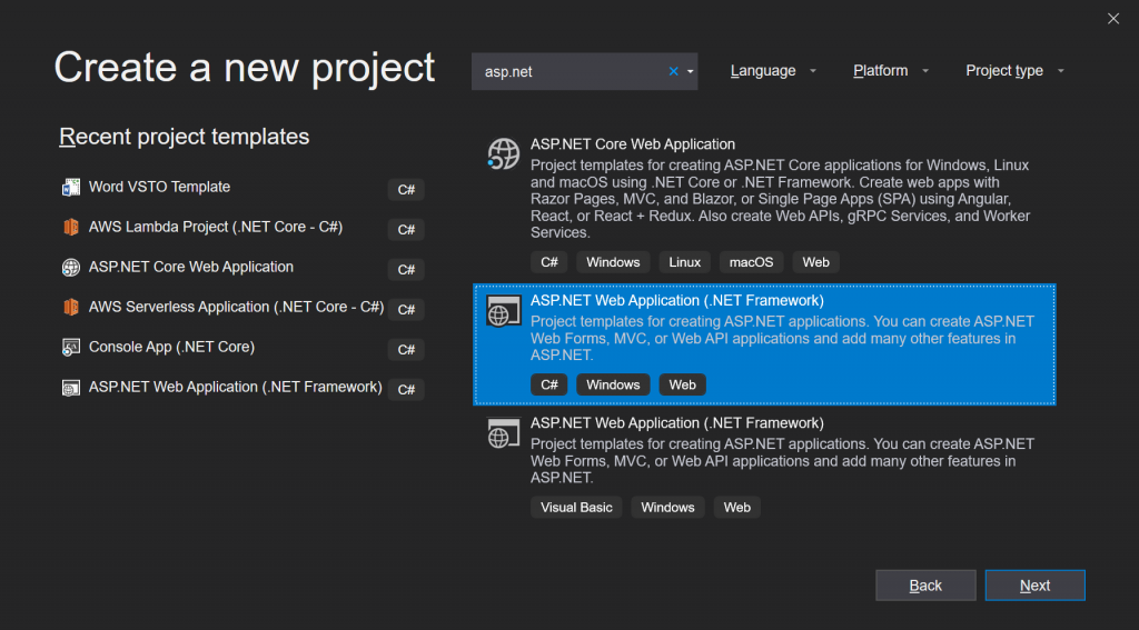 "Visual Studio 2019's Create New Project dialog window showing ""ASP.NET Web Application (.NET Framework)"" project type selected."