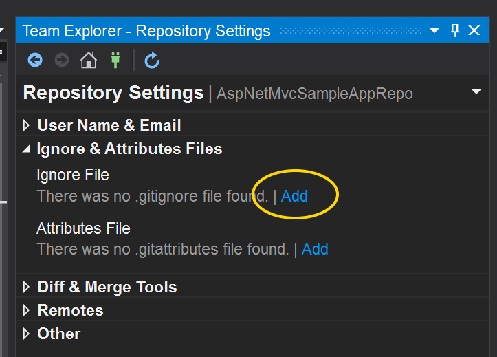 Visual Studio's Team Explorer - Repository Settings pane, showing the Add link for Ignore and Attribute Files.