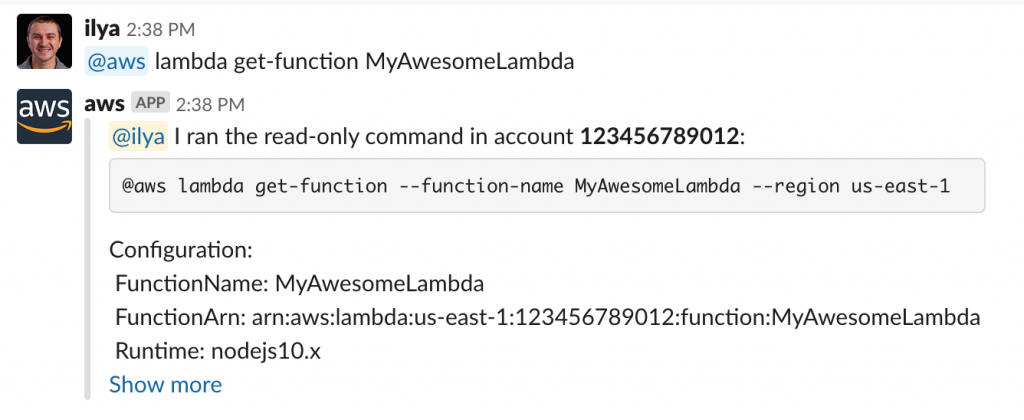 Example of @aws lambda get-function command
