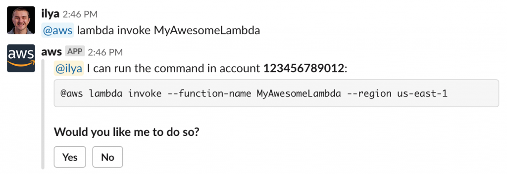 Example of an @aws lambda invoke command.