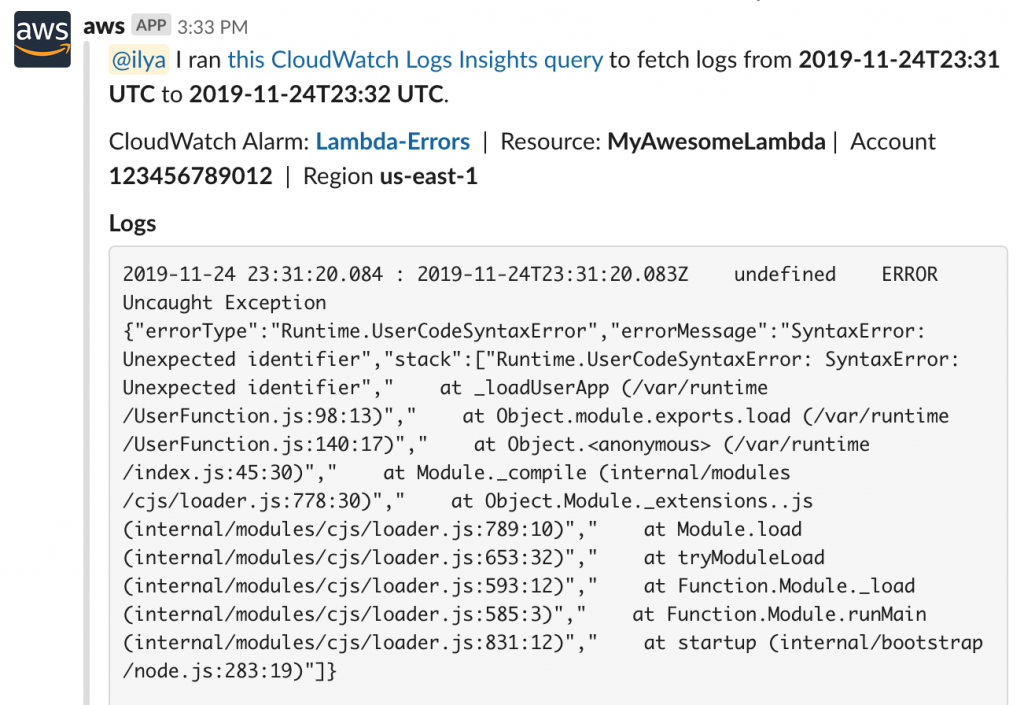 Example of logs returned by the Show logs action.