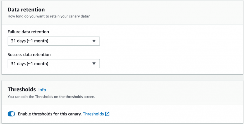 Enable thresholds in CloudWatch Synthetics