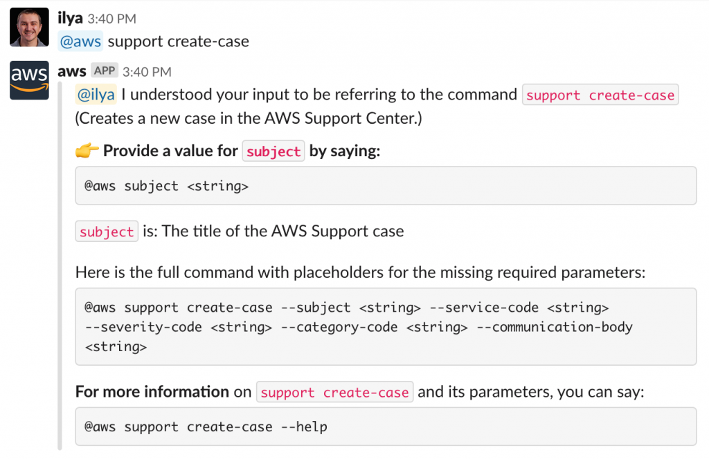 Example of @aws support create-case command.