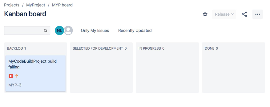 A Jira Kanban board showing the newly created issue for the failing CodeBuild project