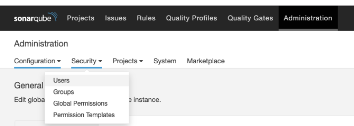 Screenshot showing where to find the user management options inside SonarQube.