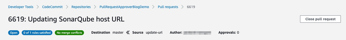 Screenshot showing that your pull request has 0 of 1 rule satisfied, with 0 approvals.