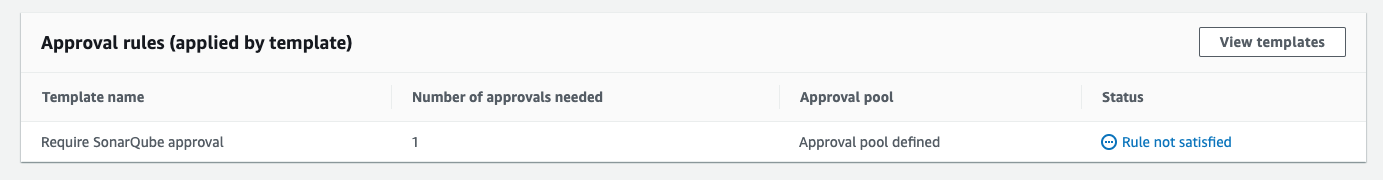 Screenshot showing a table of approval rules on this pull request which were applied by a template. Require SonarQube approval is listed but not yet satisfied.