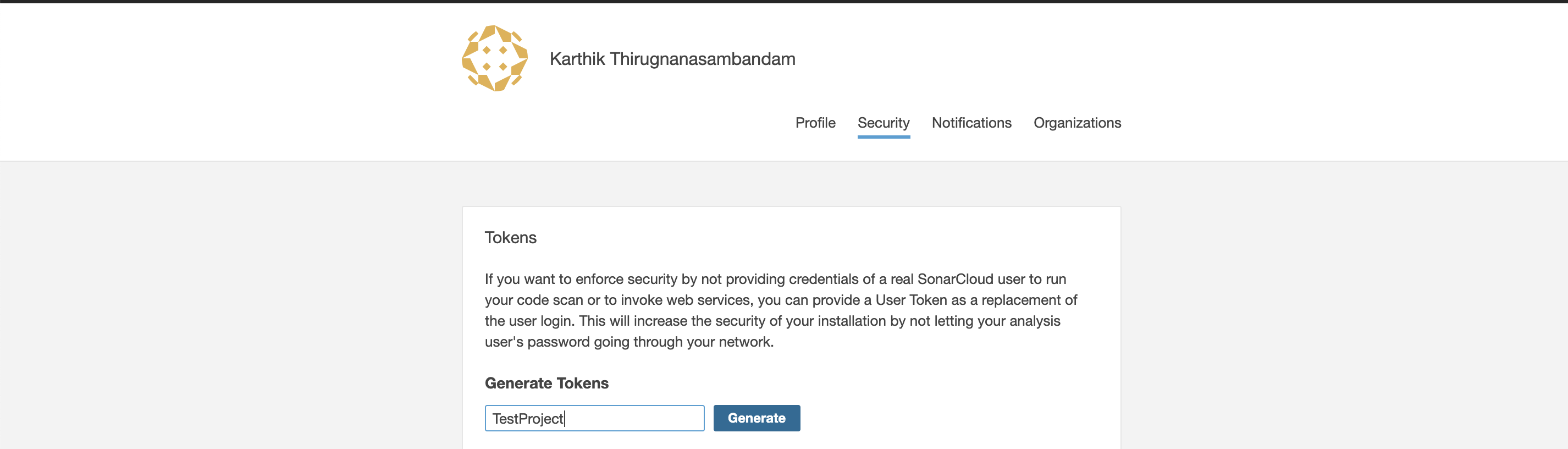 security token for Sonarcloud access