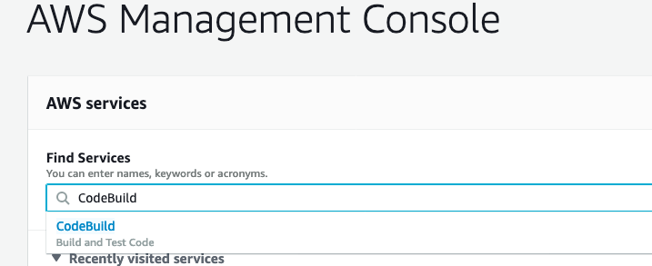 image showing how to search for the CodeBuild service in the AWS Management Console