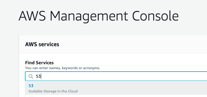 image displaying how to search for the S3 service in the AWS Management Console