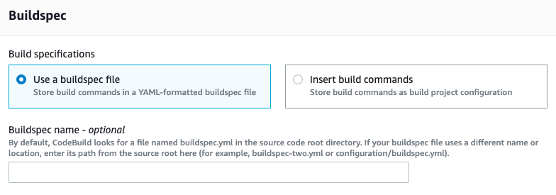Image showing us select to use a buildspec file.