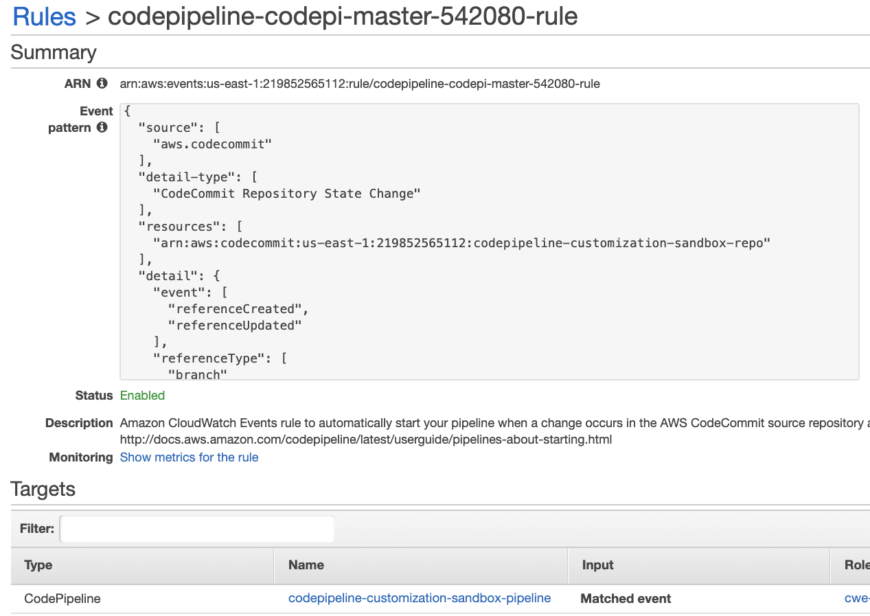 Default CloudWatch Events Rule to Trigger CodePipeline