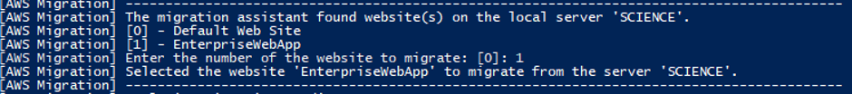 Migration assistant lists web sites hosted in IIS and prompts to select one.