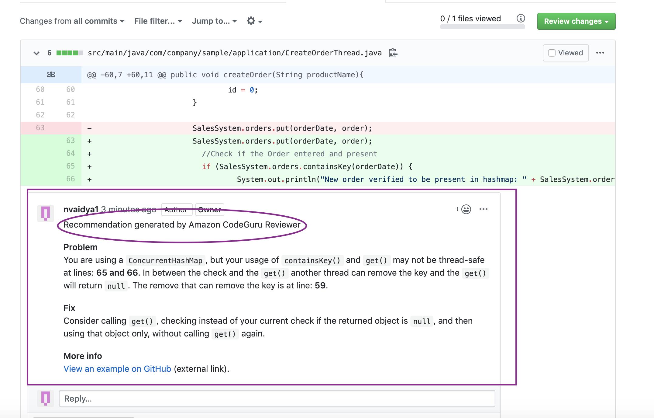 CodeGuru Recommendations on GitHub