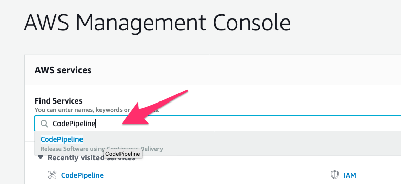 Search for the CodePipeline Service from the AWS Console Search box.