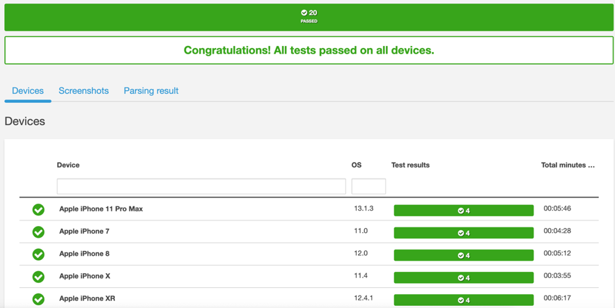 Sucessfully executed tests on Device Farm