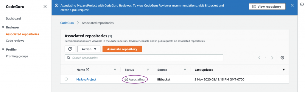 Screenshot for Reviewer connection with Bitbucket in Associating State