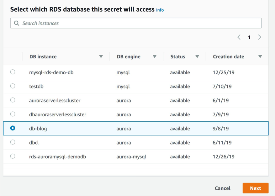 database search in aws secrets manager