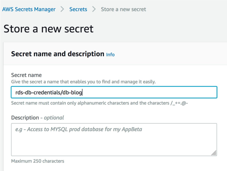 AWS Secrets Manager Store a new secret window