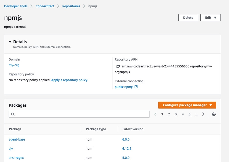 External connection to npmjs with AWS CodeArtifact repositories
