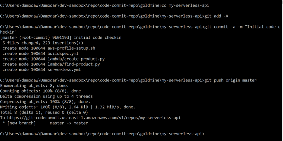 Git push code to master branch of code commit repository