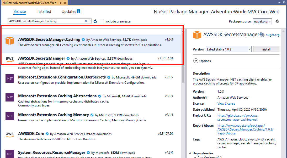 Add Aws Secrects Manager nuget